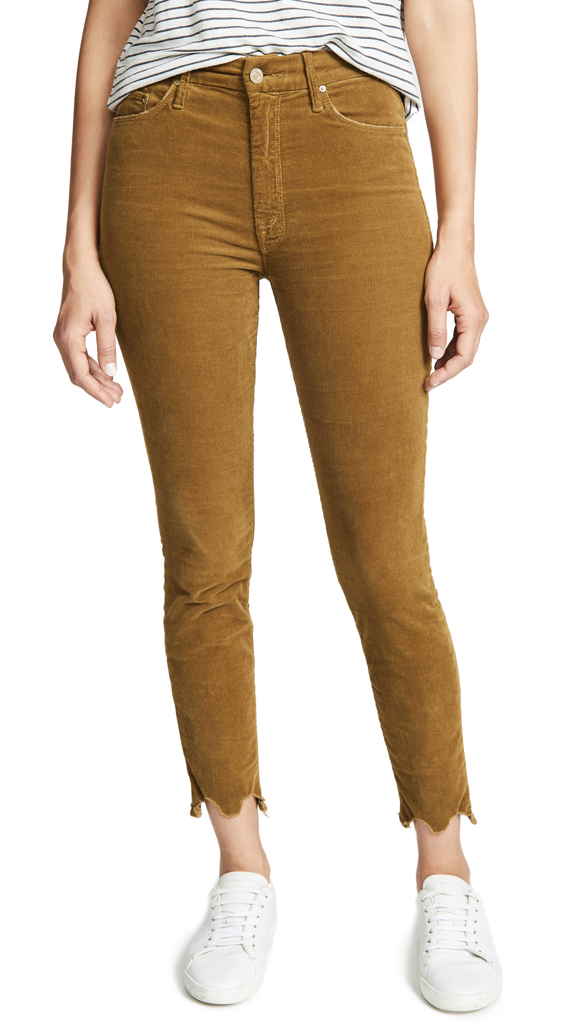 MOTHER High Waisted Looker Ankle Chew Pants In Okra