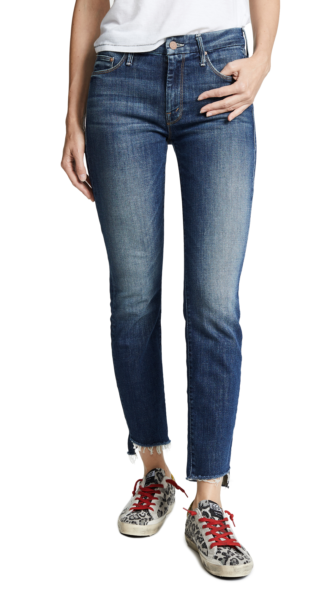 MOTHER The Looker Ankle Step Fray Jeans In Can'T Leave It Alone