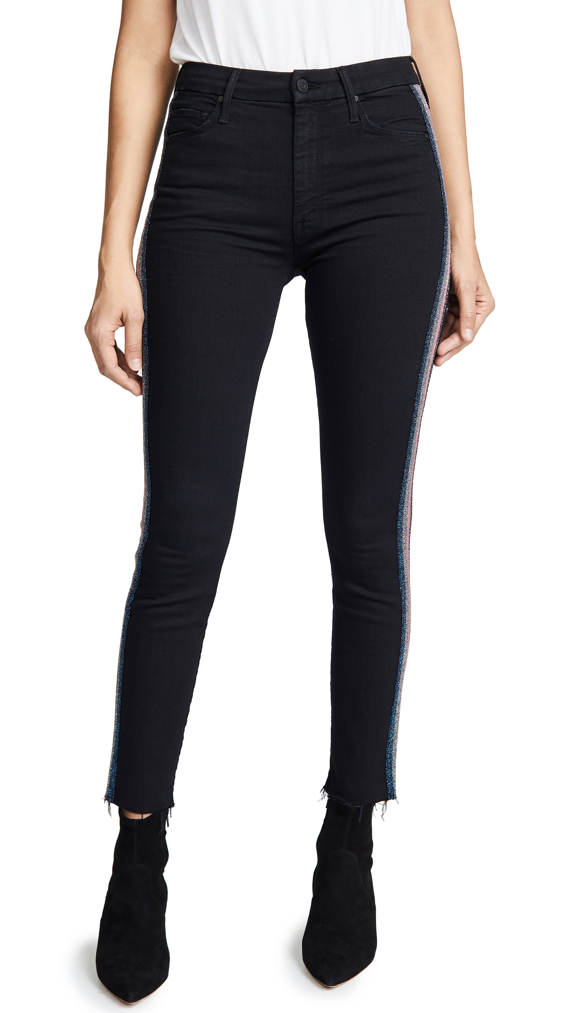 MOTHER High Waisted Looker Ankle Jeans with Fraying In Guilty Glitter Racer