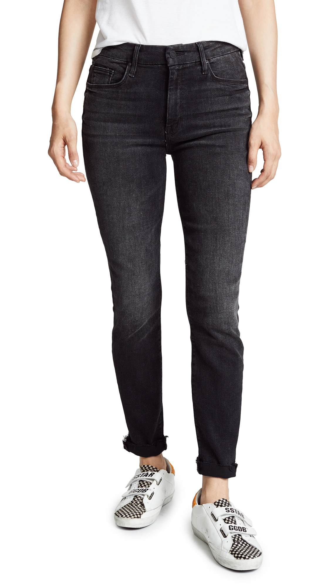 MOTHER High Waist Looker Ankle Fray Jeans In Night Hawk