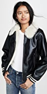MOTHER The Faux Fur Moto Jacket