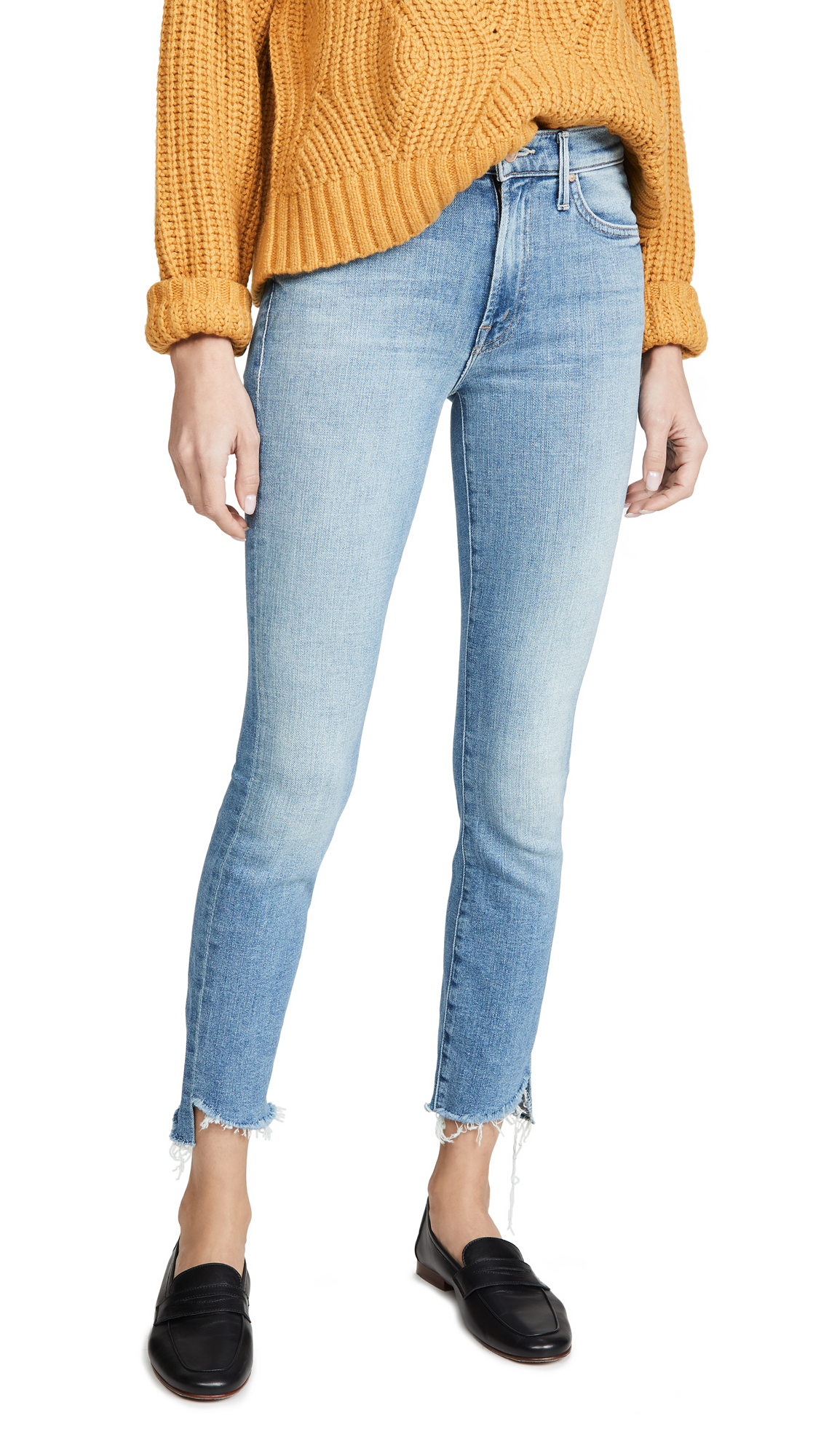Buy MOTHER online - photo of MOTHER The Stunner Zip Ankle Step Fray Jeans
