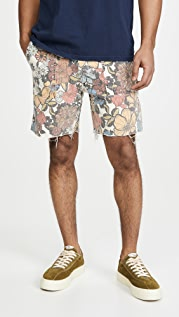 MOTHER Commando All Over Floral Denim Shorts