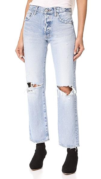 MOUSSY MV Mesa Straight Leg Jeans - Light Blue