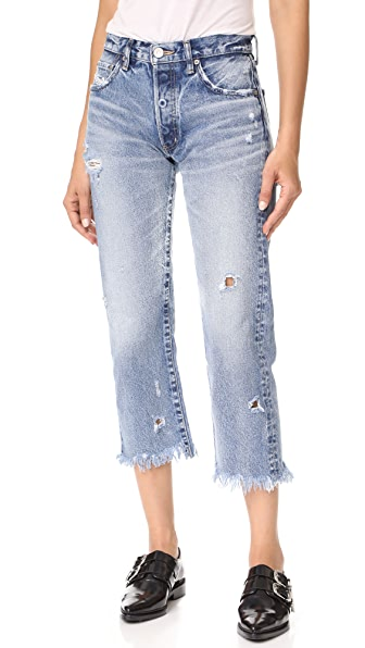 MOUSSY MV Atoka Cropped Straight Jeans In Blue