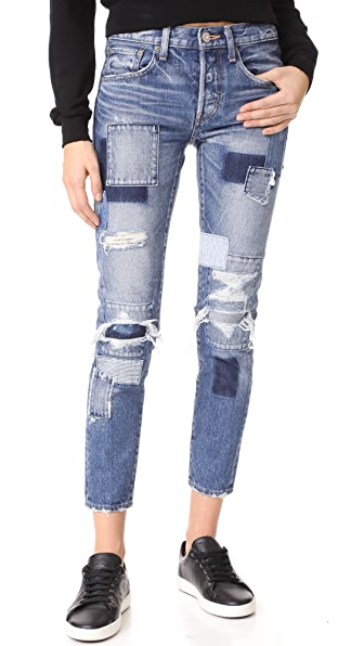 MOUSSY MV Laurel Patched Tapered Jeans