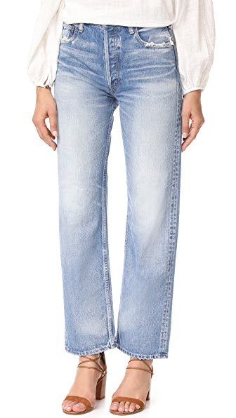 MOUSSY MV Linda Wide Straight Jeans - Blue