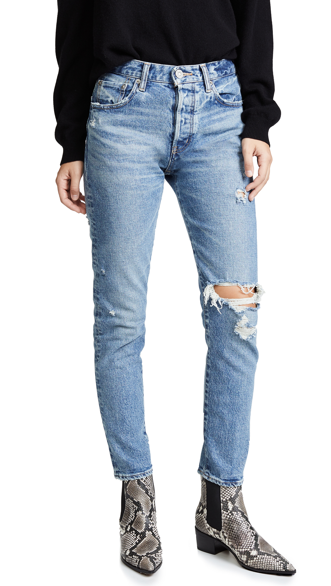 MOUSSY VINTAGE MVS Isabel High Rise Tapered Skinny Jeans In Blue