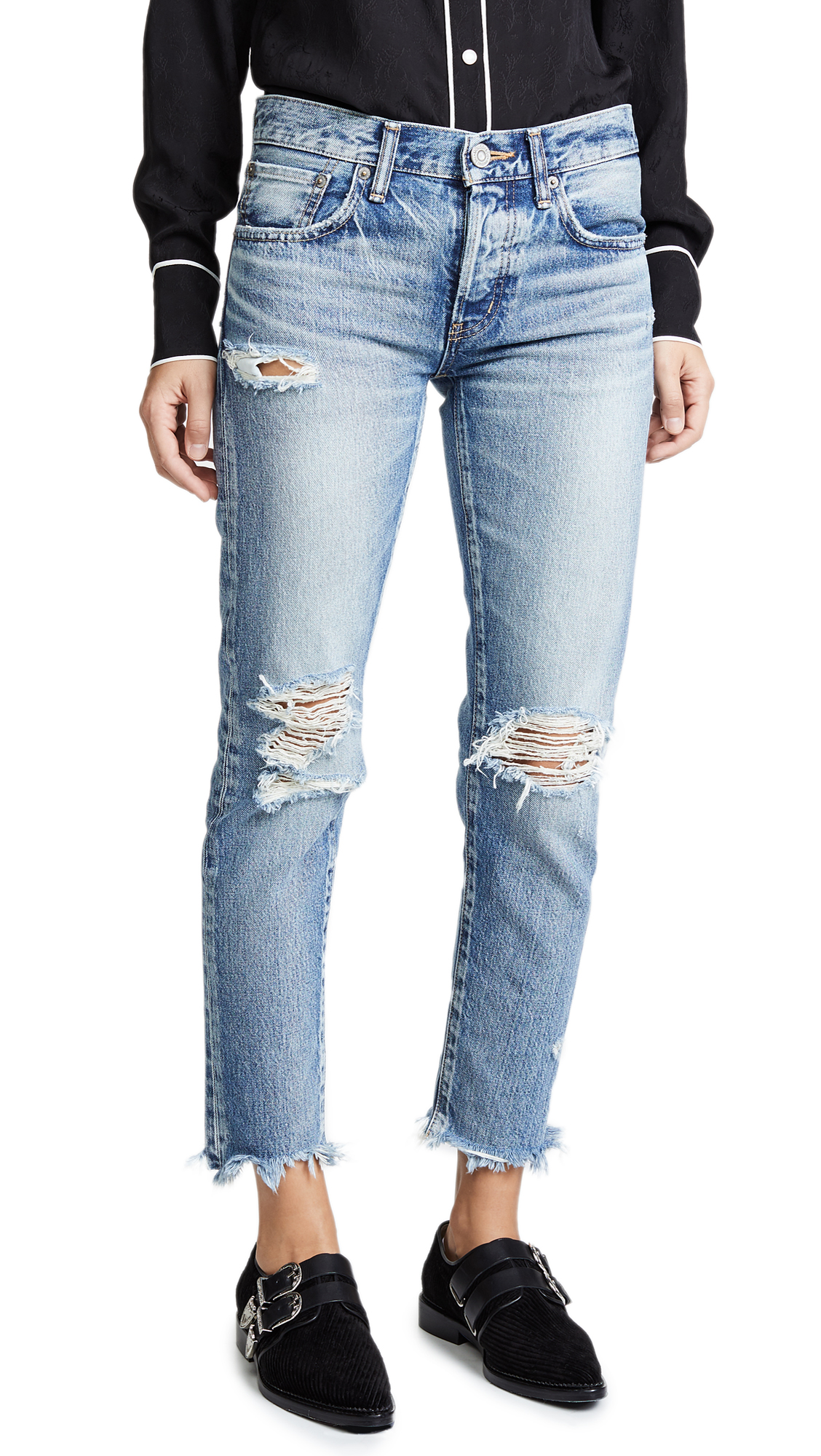 MOUSSY VINTAGE MV Fredrick Tapered Jeans In Light Blue