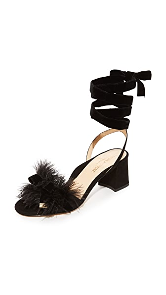 Marion Parke Babette Feather Sandals - Black