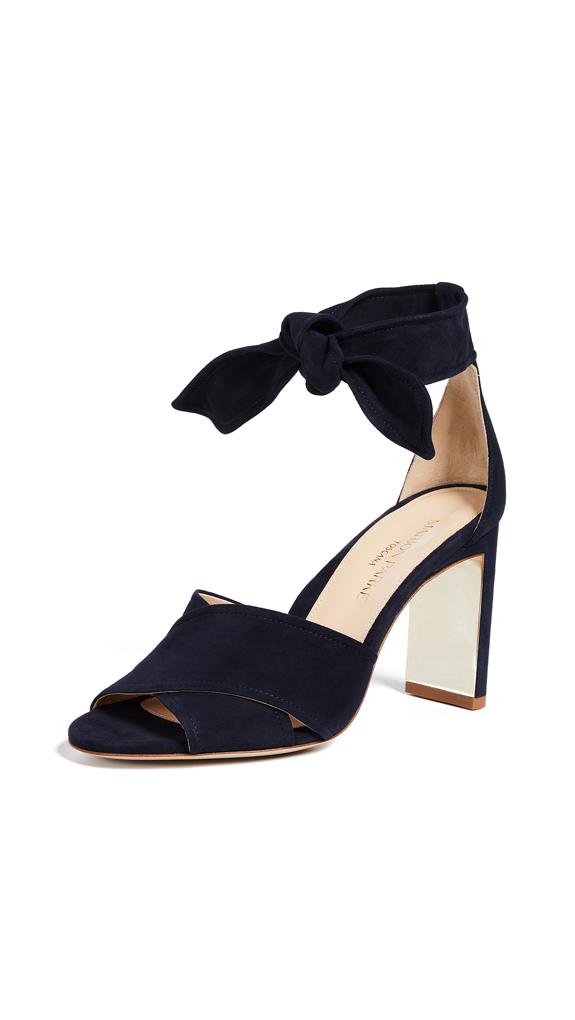 MARION PARKE Leah Ankle Strap Sandals in Navy