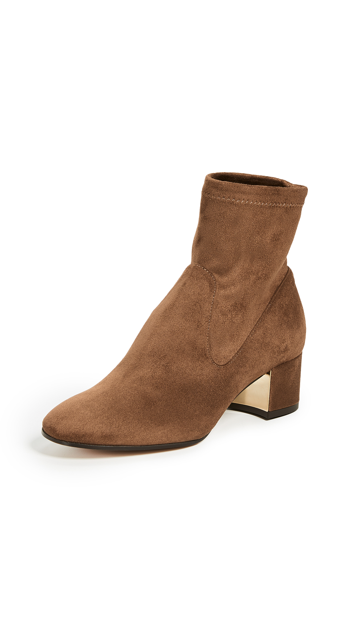 MARION PARKE Grace Block Heel Ankle Boots in Luggage