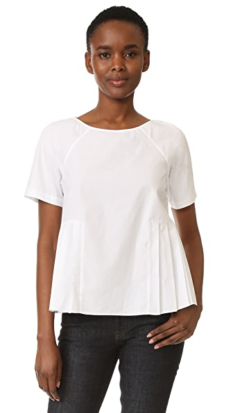 M.PATMOS Clement Pleated Top - White