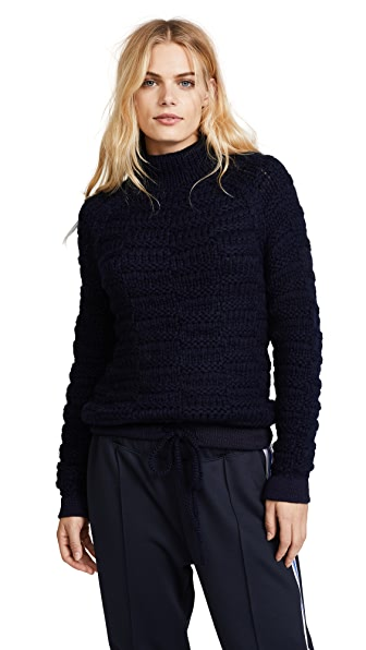 M.PATMOS Albert Funnel Neck Sweater In Navy