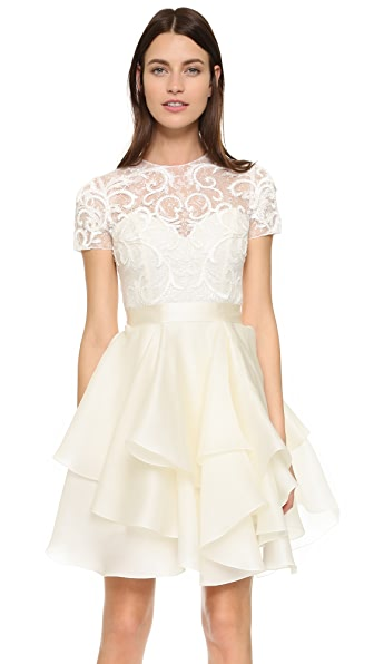 Marchesa Embroidered Lace Cocktail Dress - Ivory