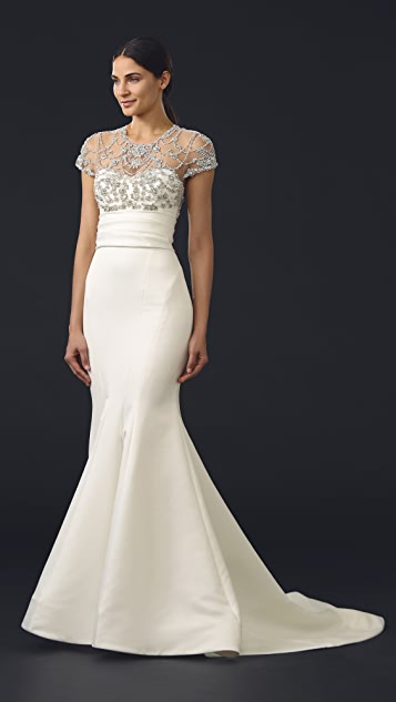 Marchesa Fishtail Satin Gown with Bejeweled Top