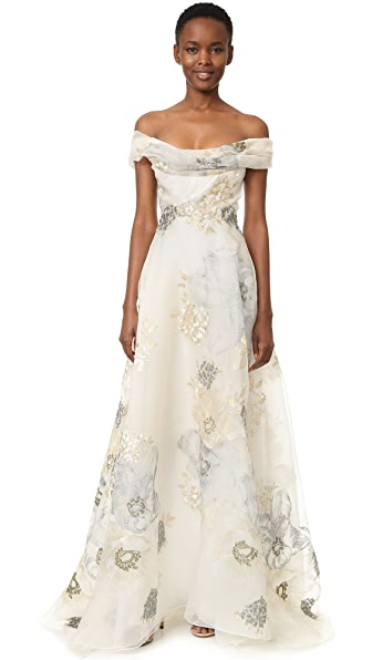 Marchesa Off Shoulder A-Line Gown - Ivory