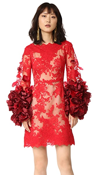 Marchesa Cocktail Dress with Organza Flowers - Red