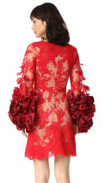 Marchesa Cocktail Dress with Organza Flowers