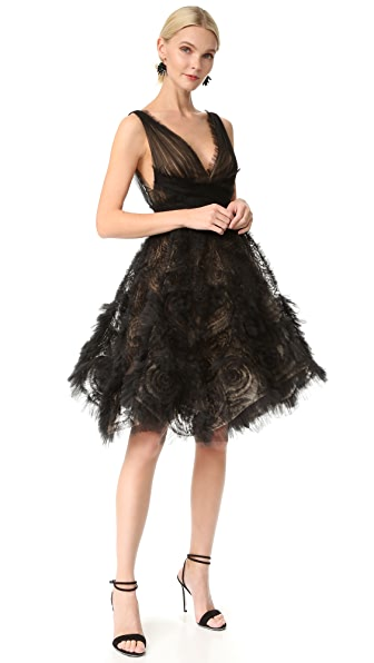 Marchesa Tulle Cocktail Dress - Black