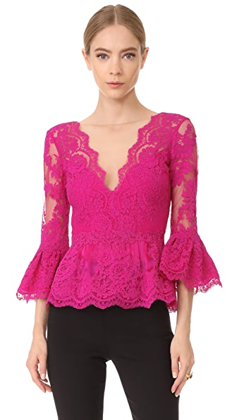 Marchesa Peplum Top with Plunging V Neck