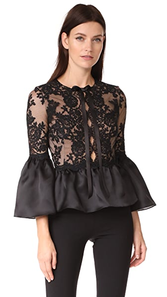 Marchesa Peplum Top with Bell Sleeves - Black