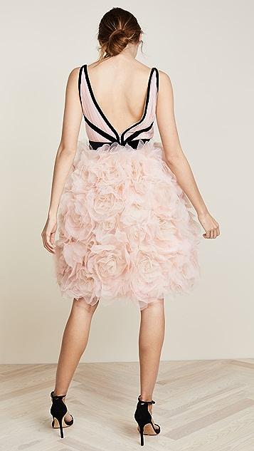 Marchesa V Neck Tulle Cocktail Dress