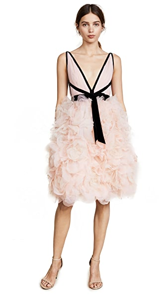 Marchesa V Neck Tulle Cocktail Dress In Blush