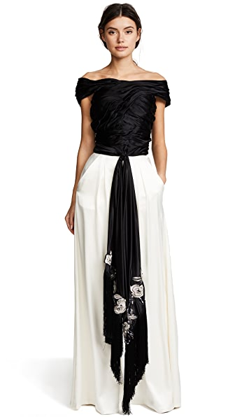 Marchesa Draped Top In Black