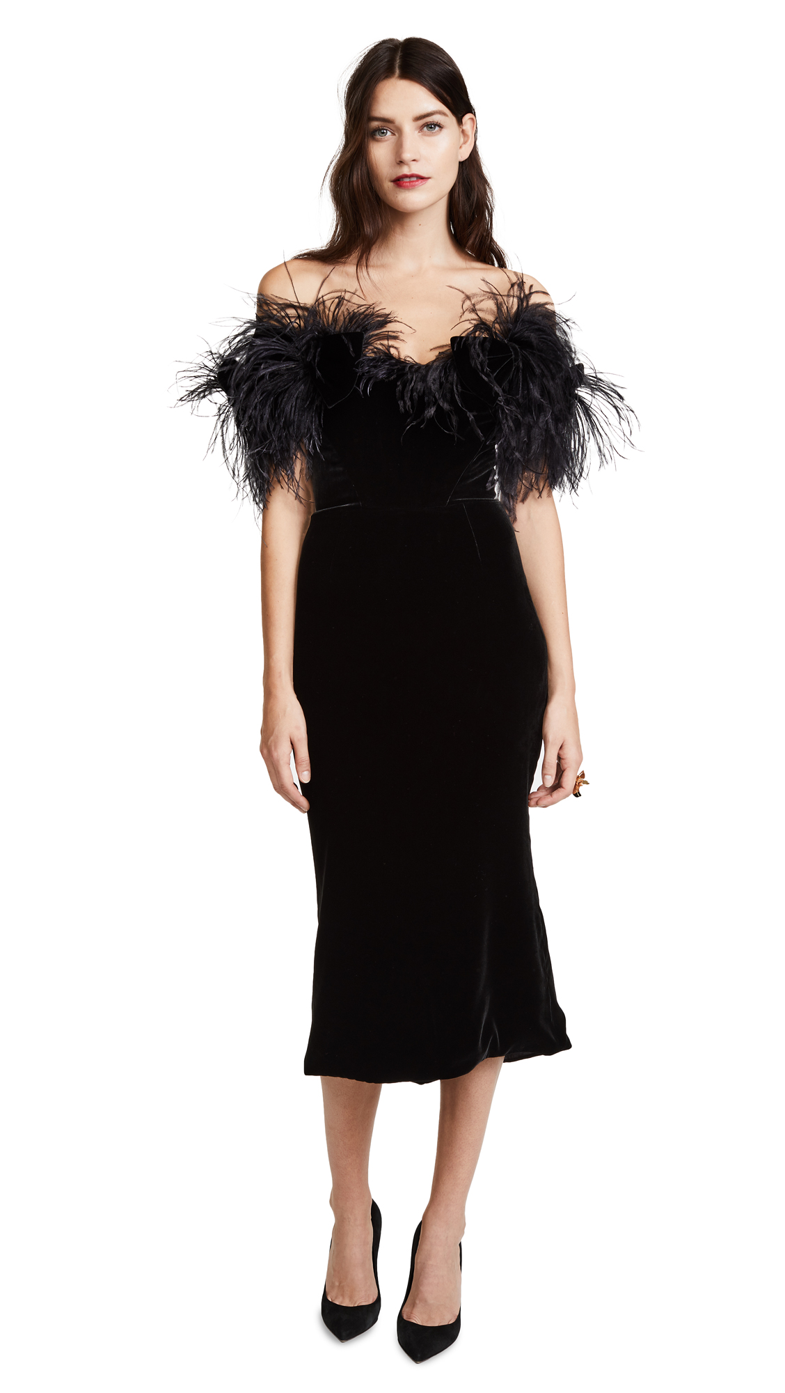 Marchesa Off Shoulder Cocktail Dress