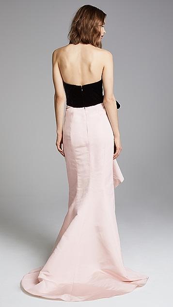 Marchesa Strapless Silk Gown