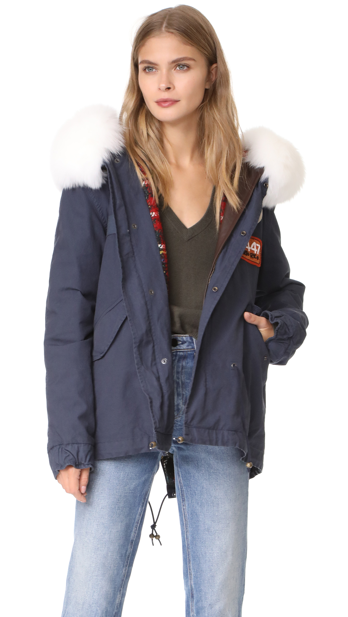 Mr & Mrs Italy Canvas & Fox Fur Parka - Navy/Red