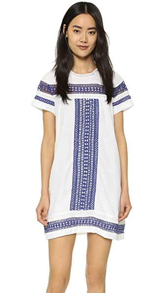 Moon River Contrast Lace Trimmed Dress - White