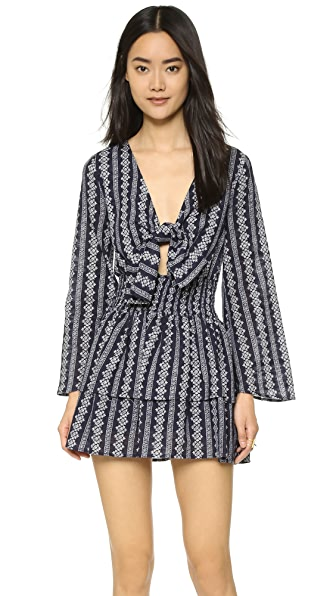 Moon River Tie Front Printed Dress - Navy