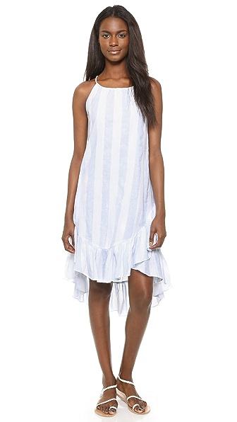 Moon River Stripe Ruffle Dress - Light Blue/White