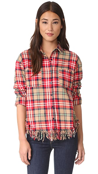 Moon River Check Shirt with Frey Hem