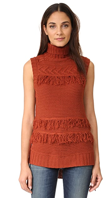 Moon River Turtleneck Sweater with Side Ties
