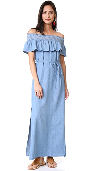Moon River Off Shoulder Maxi Dress