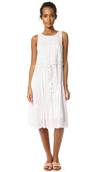 Moon River Stripe Dress In Ivory/Red