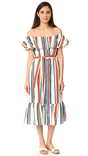 Moon River Off Shoulder Dress In Orange Multi