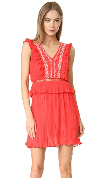 Moon River Ruffle Dress In Red