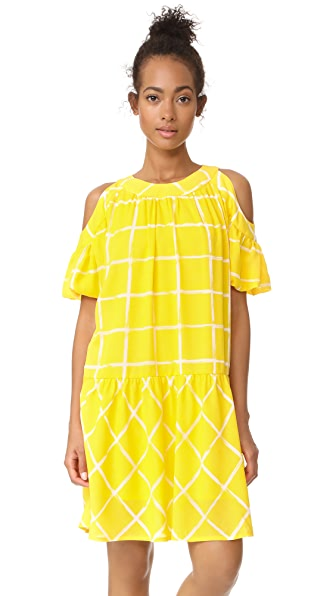 Moon River Cold Shoulder Dress In Yellow Grid