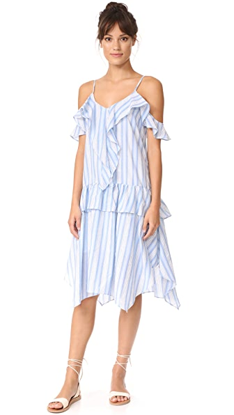 Moon River Ruffled Camisole Dress In Blue Multi