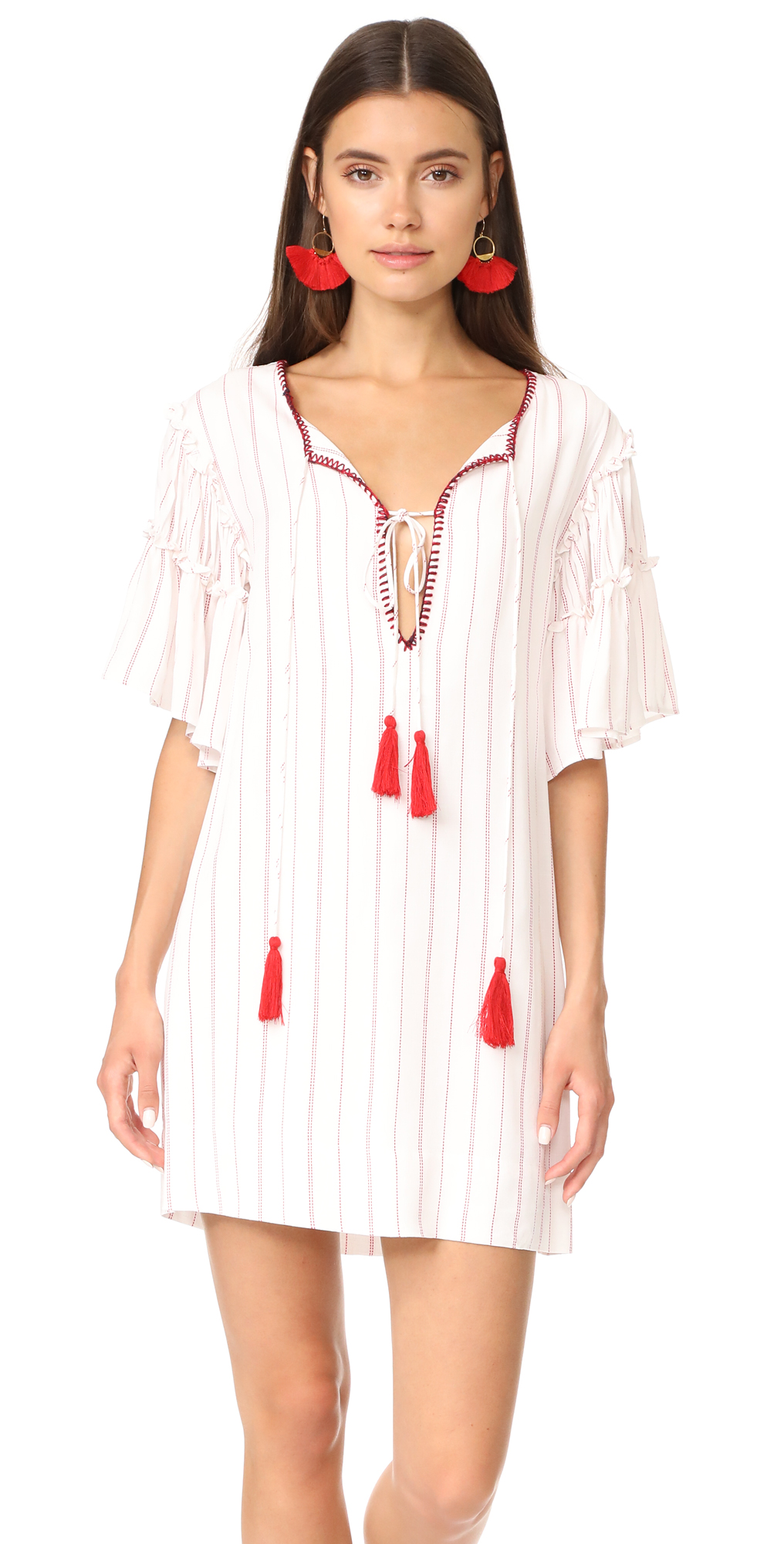 Embroidered Neck Dress Moon River