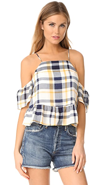 Moon River Plaid Top - Navy/Yellow