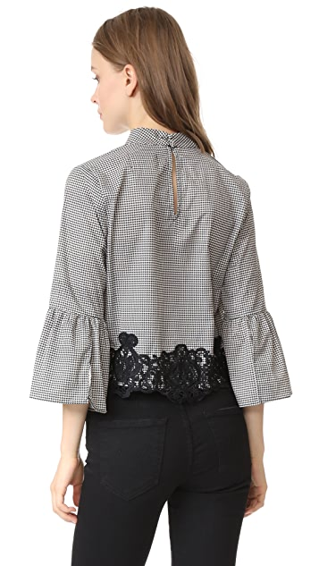 Moon River Houndstooth Lace Belle Blouse