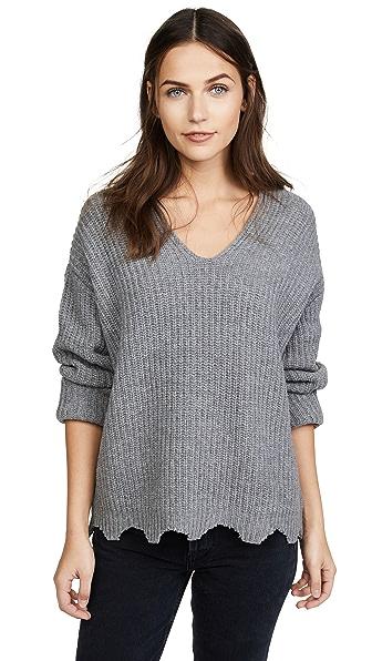 Moon River Raw Edge Sweater In Grey