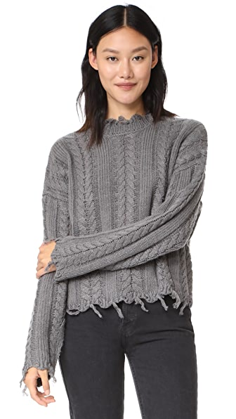 Moon River Fringed Cable Sweater In Grey