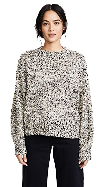 Moon River Belle Sleeve Sweater In Taupe Multi