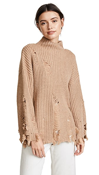 Moon River Fray Sweater In Brown